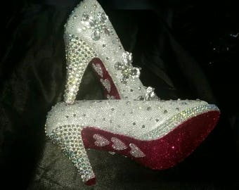 Wedding shoes customised to your colour scheme or design.  High, mid, low heels available.  Choose from bling or avant garde.  Unique to you