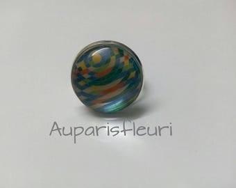 Silver Adjustable ring, multicolor pattern