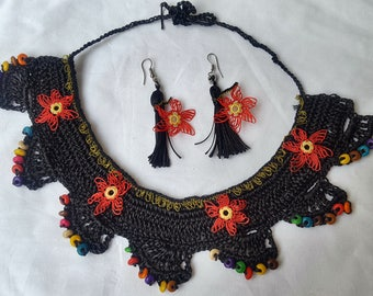 Authentic Turkish Lace & Crochet Jewelry Set, Boho Style Handmade Earrings + Necklace Set
