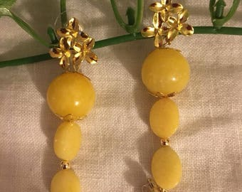 Yellow Jade Pendant Earrings