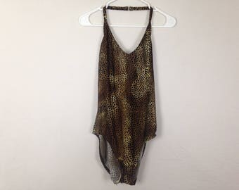 Brown cheetah / leopard print one piece open back swimsuit size L/XL