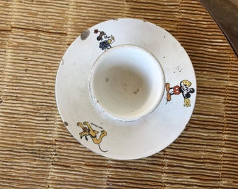 ancien coquetier Mickey, Minnie, Pluto faïencerie d'Onnaing,French ceramic, 古い卵のカップ, old egg cup