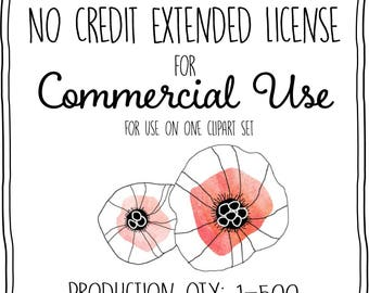 No Credit Extended License for Commercial Use - Up to 500 Reproductions