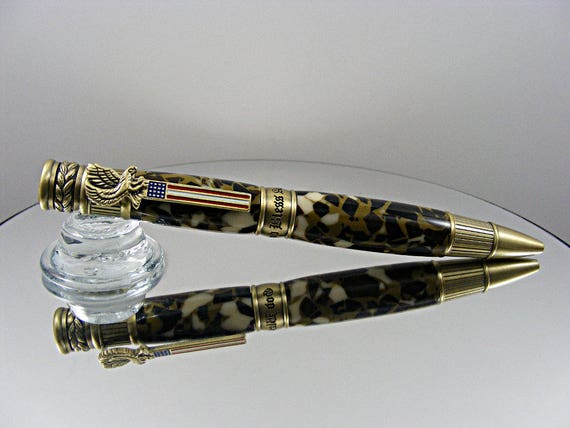 Handcrafted Patriotic Ballpoint Pen in Antique Brass and Camo Acrylic
