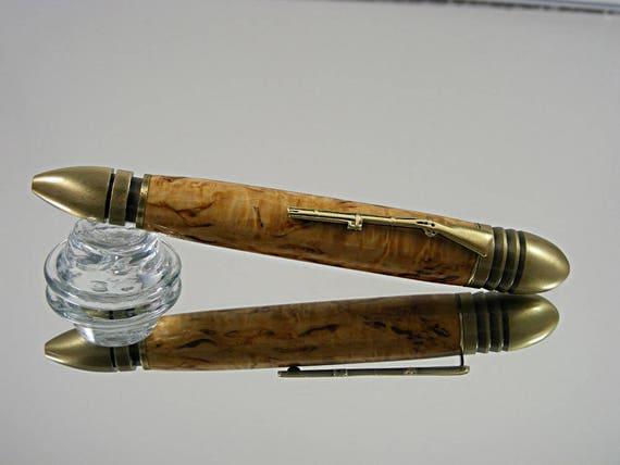 Handcrafted Civil War Pen in Antique Brass and Masur Birch