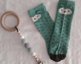 Baby sage owl knee high socks 0-1 yr