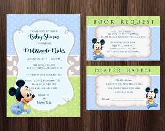 Personalized Baby Mickey Mouse Baby Shower Set Invitations Invite Diaper Raffle Book Request Pastel Polka Dots Printable DIY - Digital File