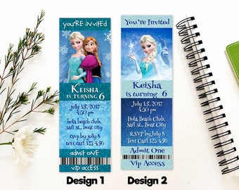 Personalized Frozen Elsa Anna Snowflake Ticket Invitation Invite Birthday Party Snow Turquoise Blue Printable DIY - Digital File