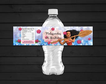 Personalized Moana Water Bottle Label Printable for DIY Birthday Party Pink and Blue Bokeh Tropical Flowers Hibiscus - Digital File