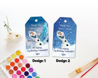 Personalized Olaf First Birthday Party Thank You Favor Tag Label Snowman Snow Baby Shower Christmas Tags Labels Printable DIY - Digital File