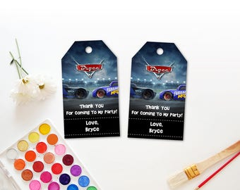 Personalized Cars 3 Thank You Tag Birthday Party Blue Fabulous Lightning Mcqueen Jackson Storm Race Cars Favor Tags Favors Printable DIY