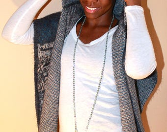 Women Wool-Cashmere Blend Hooded Shawl Wrap