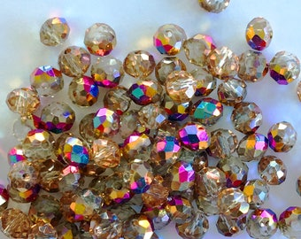 6mm Rondelle Faceted Crystal Glass Beads (Half Plated Electroplated Brown) - 100 pieces
