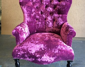 Buttoned Armchair Chair, Medium, In Bright Pink Crushed Velvet New *HANDMADE in UK*