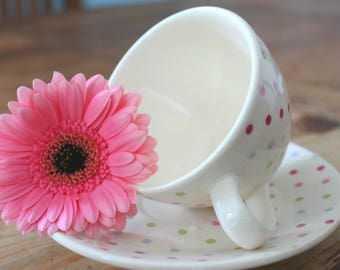 Spotted Tea Cup and saucer