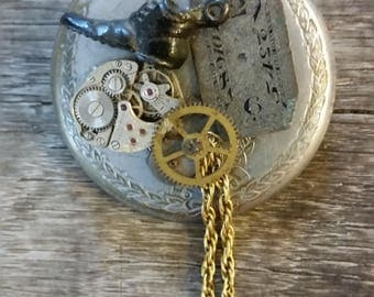 Vintage Watch Parts Steampunk Pin