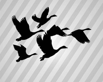 Geese Silhouette - Svg Dxf Eps Silhouette Rld RDWorks Pdf Png AI Files Digital Cut Vector File Svg File Cricut Laser Cut