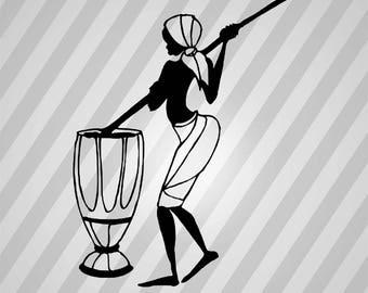 African Lady 3 - Svg Dxf Eps Silhouette Rld Rdworks Pdf Png Ai Files Digital Cut Vector File Svg File Cricut Laser Cut