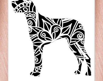 Great Dane Papercut Template Mandala Henna - Svg Paper Cut Templates Stencil Line Art Pdf Cut Files Digital Clip Art Drawing