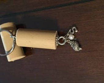 Letter s and Seashell Wine Cork Keychain