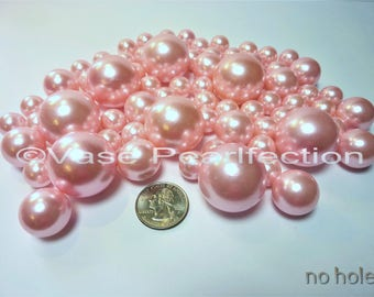 No Hole 80 All Light Blush Pink Pearls/Rose Gold Pearls in Jumbo & Assorted sizes for Floating Vase Centerpieces and Tablescapes