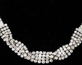 Vintage HIGH END Clear Rhinestone Choker Necklace