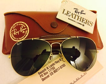 Vintage Aviator Outdoorsman  leather Bausch & Lomb Ray Ban Sunglasses 62mm BL Green G15  New W/ Case