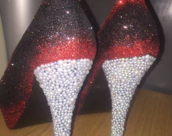 Black and red-ombre heels-pearls-wedding-prom-sparkly