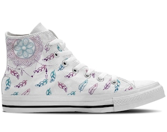 Men's High Top Sneaker with Dreamcatcher/Feather Print 'DreamCatcher' - White/Purple/Blue