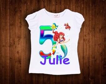 inspired by princess ariel birthday shirt