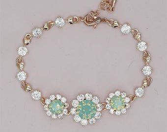 Mint Green Bracelet, Rose Gold Bridal Bracelet, Swarovski Crystal Mint Bracelets Mint Green Bridesmaid Gift, Mint Bridesmaid Bracelet