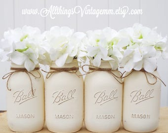 Set of 4 Ivory painted Mason jars,Mason jar decor,rustic home decor,wedding decor,Mason jars,bridal shower
