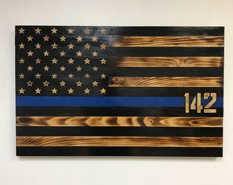 Rustic Thin Blue Line Wooden Flag with Hand Carved Stars, Wood American Blue Line Flag, Hand-Crafted, TBL Wall Art