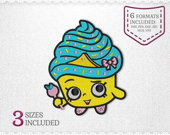 Shopkins Cupcake Queen Embroidery Machine Design - 3 Sizes - INSTANT DOWNLOAD - Applique, Embroidery, Designs