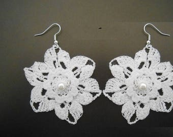 white lace Crochet flower earrings
