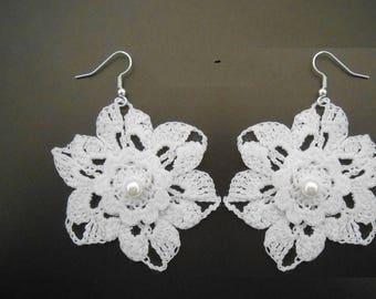 white lace Crochet flower earrings