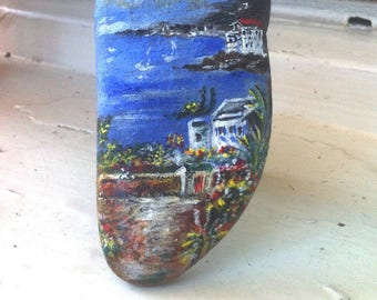 Sold-landscape 'Memories of summer' on pebble and support
