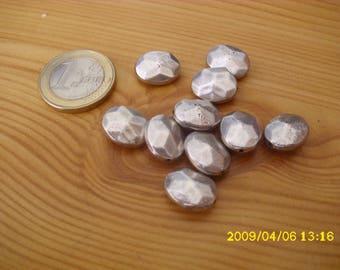 set of 10 silver imitation beads