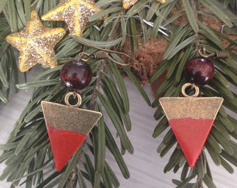 Earrings bronze triangle shape and is stated.