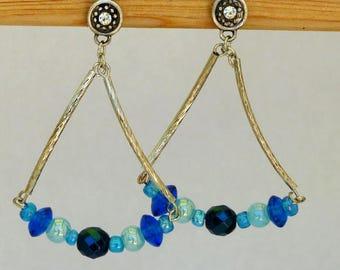 Dangle earrings blue veil
