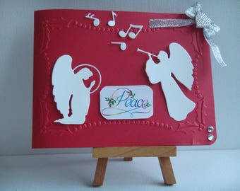 "Red greeting card Kit ""PEACE"" Angels make you even"