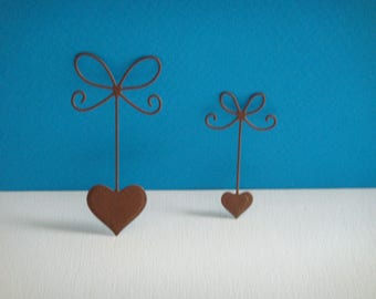 Cut Brown set of 2 bows hearts for scrapbooking and card