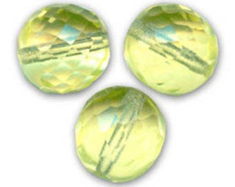 Faceted Bohemian 12 mm: 3 beads lemon yellow