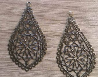 set of 5 filigree charms bronze 66 x 35 mm