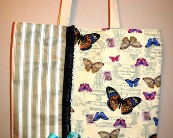Multicolored butterflies theme canvas bag