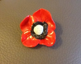 Poppy red polymer clay brooch