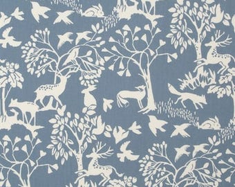 Fabric, Scandinavian style, deer, rabbits, trees, foxes, birds, cotton, patch