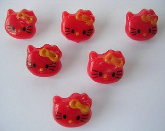 LOT 6 buttons: Kitty red 14mm