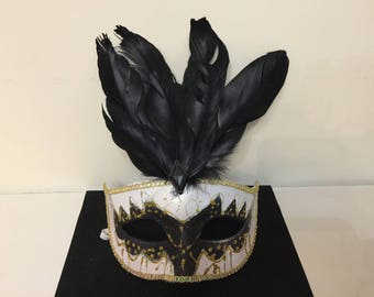 Black White Carnival Venetian mask gold rhinestone feathers