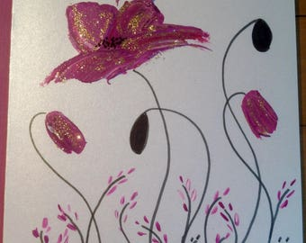 Double - gold - glitter purple poppies greeting card - hand painted card art
